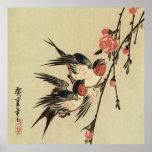 Tragos de Hiroshige y flores del melocotón Impresiones