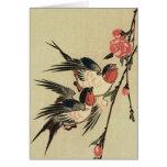 Tragos de Hiroshige y flores del melocotón Felicitacion