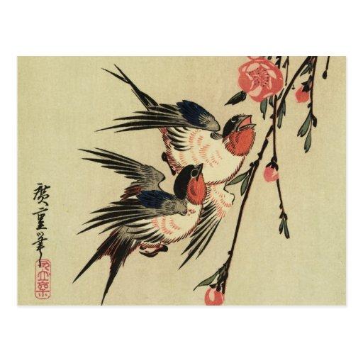 Tragos de Hiroshige y flores del melocotón Postales