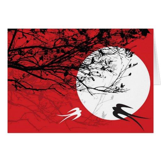 Tragos de Oriental en tarjeta del claro de luna