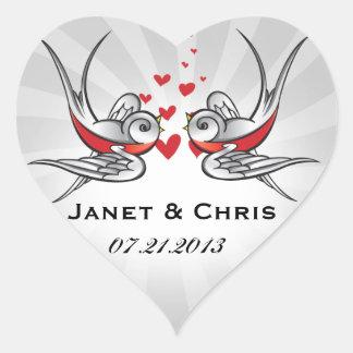 Tragos del tatuaje del Rockabilly que casan Pegatina En Forma De Corazón