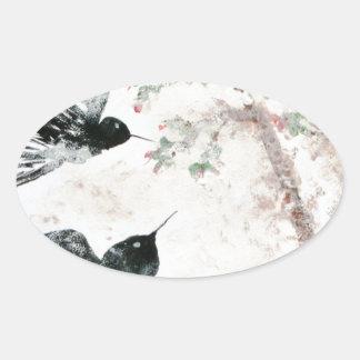 Tragos en la nieve pegatina ovalada