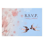 Tragos RSVP de la flor de cerezo y del amor Invitación Personalizada