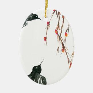Tragos y bayas adorno navideño ovalado de cerámica