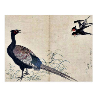Tragos y faisán por Kitagawa, Utamaro Ukiyoe Postales