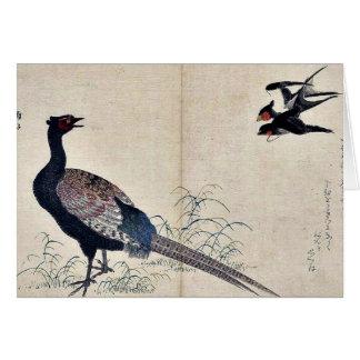 Tragos y faisán por Kitagawa, Utamaro Ukiyoe Tarjeta De Felicitación
