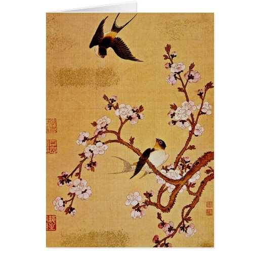 tragos y ramas florecientes, Chiang T'in del blanc Tarjetas