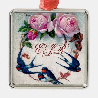 tragos y rosas del vintage en ciánico adorno navideño cuadrado de metal