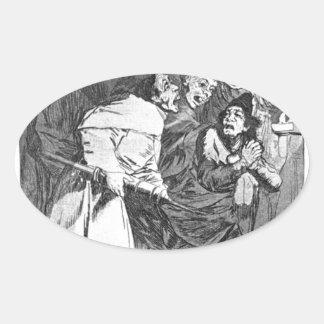 Tragúelo, perro de Francisco Goya Pegatina Ovalada