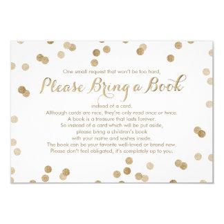 """Traiga a libro el falso confeti del oro tarjeta invitación 3.5"""" x 5"""""""