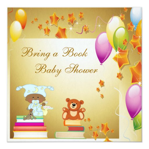 """Traiga a libro la fiesta de bienvenida al bebé invitación 5.25"""" x 5.25"""""""