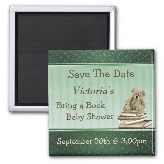 Traiga a reserva de la fiesta de bienvenida al beb imán cuadrado