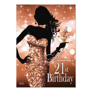 Traiga bronce del cumpleaños el | de la chispa de invitación personalizada