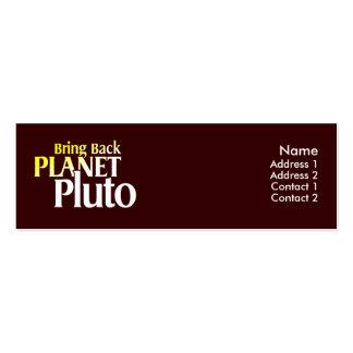 Traiga detrás la tarjeta del perfil de Plutón del  Plantilla De Tarjeta De Visita