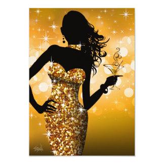 Traiga el oro de la chispa el | de Bling Invitación 12,7 X 17,8 Cm