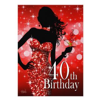 Traiga el rojo del cumpleaños el de Bling 40 o Anuncio