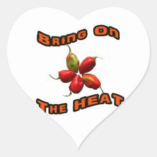 Traiga en el calor cinco pimientas calientes del pegatinas de corazon personalizadas