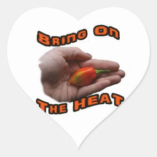 Traiga en el calor una pimienta caliente del pegatina corazon personalizadas