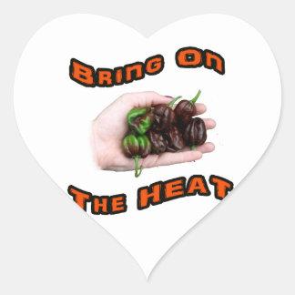 Traiga en la pimienta caliente del habanero del pegatina de corazon personalizadas