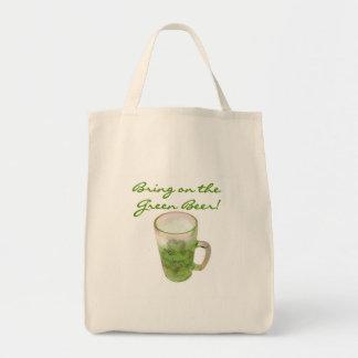 Traiga en las camisetas y los regalos verdes de la bolsa tela para la compra