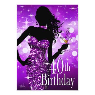 Traiga la púrpura del cumpleaños el | de la chispa invitación 12,7 x 17,8 cm