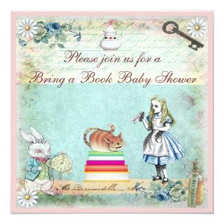 Traiga un libro Alicia y la fiesta de bienvenida Invitación 13,3 Cm X 13,3cm