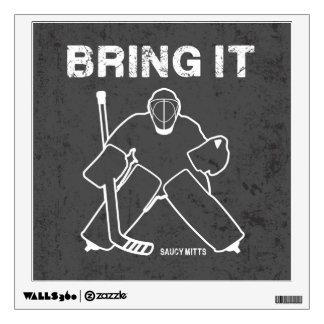 Tráigale el portero del hockey