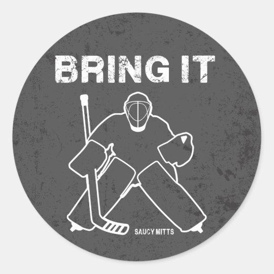 Tráigale el portero del hockey pegatina redonda