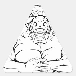 Tráigale la mascota del toro pegatina triangular