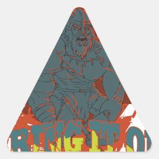 Tráigalo encendido pegatina triangular
