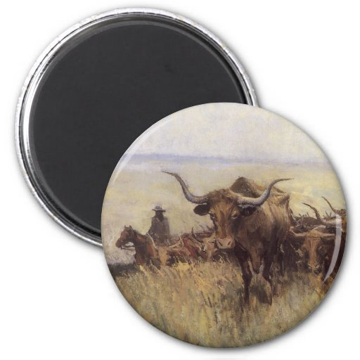 Trail Herd to Wyoming by WHD Koerner 2 Inch Round Magnet