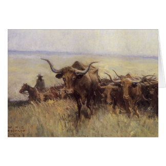 Trail Herd to Wyoming by WHD Koerner Greeting Card