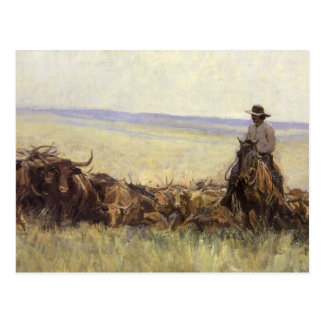 Trail Herd to Wyoming by WHD Koerner Postcard