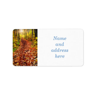 Trail in fall forest label