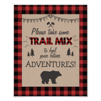 Trail mix Bar Sign Lumberjack table sign Birthday