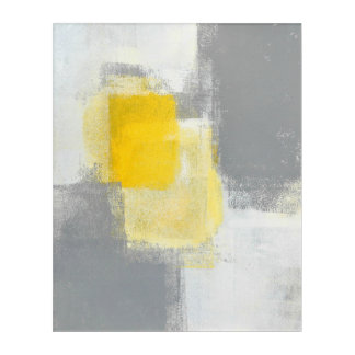 'Trail Mix' Grey and Yellow Abstract Art