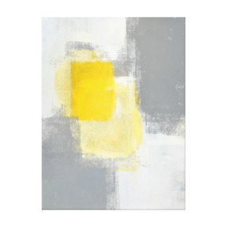 'Trail Mix' Grey and Yellow Abstract Art Canvas Print