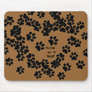 trail of dog tracks mouse pad