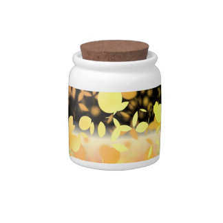 Trail Of Leaves Yellow & Gold Candy Jar