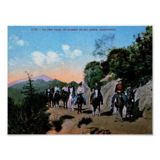 Trail Riding, Mt. Lowe, California Vintage Poster