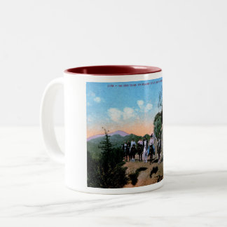 Trail Riding, Mt. Lowe, California Vintage Two-Tone Coffee Mug