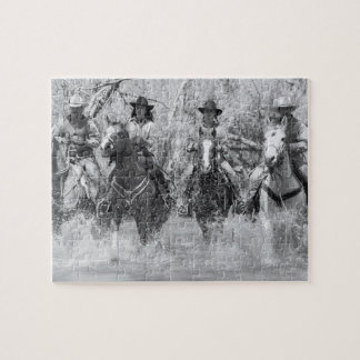 Trail riding party crossing river jigsaw puzzle