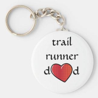 Trail Runner Dad Red Heart Design Keychain