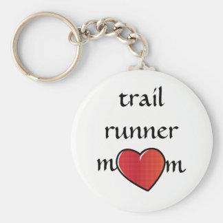 Trail Runner Mom Red Heart Design Keychain