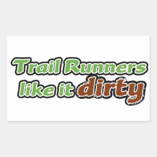 Trail Runners Like it Dirty Rectangular Sticker