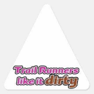 Trail Runners Like it Dirty Triangle Sticker