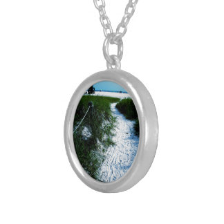 Trail To The Sea Round Pendant Necklace