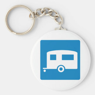 Trailer Camping Highway Sign Basic Round Button Keychain