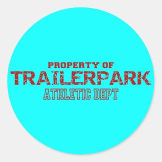 Trailer Park Athletic Dept Design Classic Round Sticker