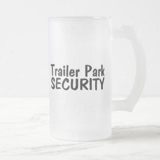Trailer Park Security 16 Oz Frosted Glass Beer Mug